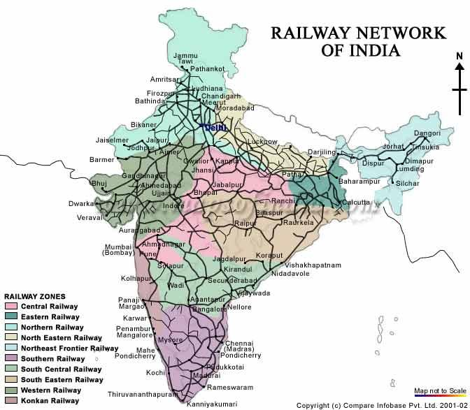 Southern Railway Map Of India.All India Railway Map Railway Map In India Southern Asia Asia