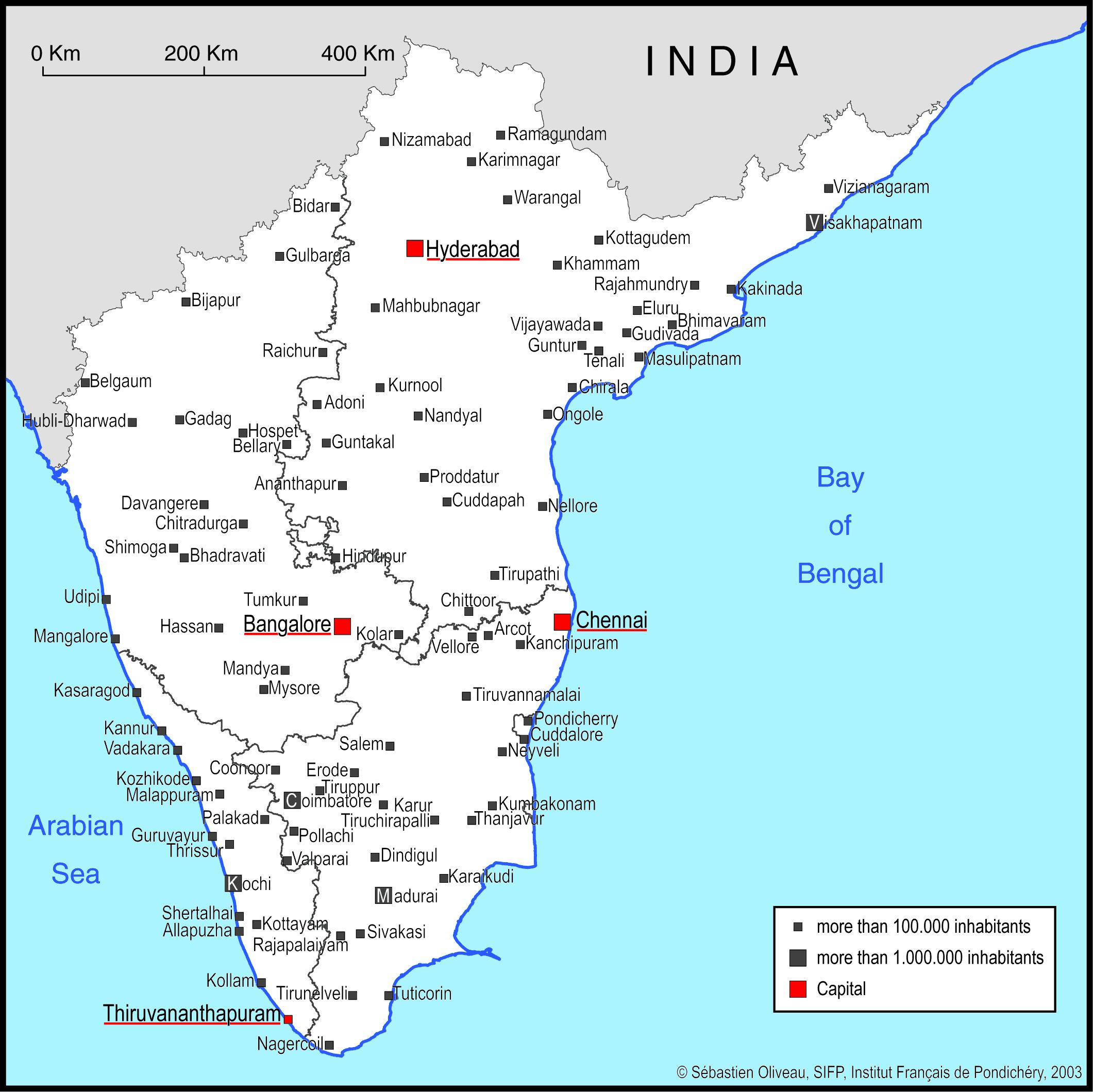 South India Map With Major Cities