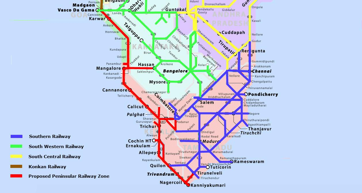 South India railway map Railway map of south India Southern Asia