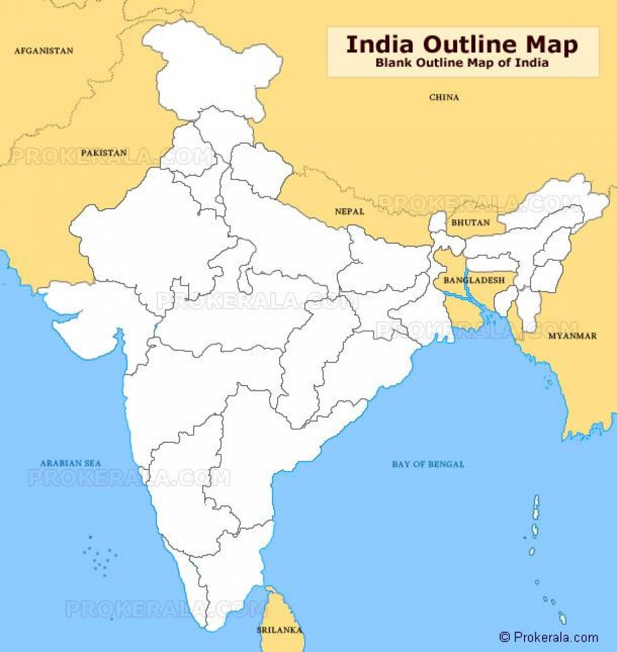 Blank outline map of India - India outline map blank ...
