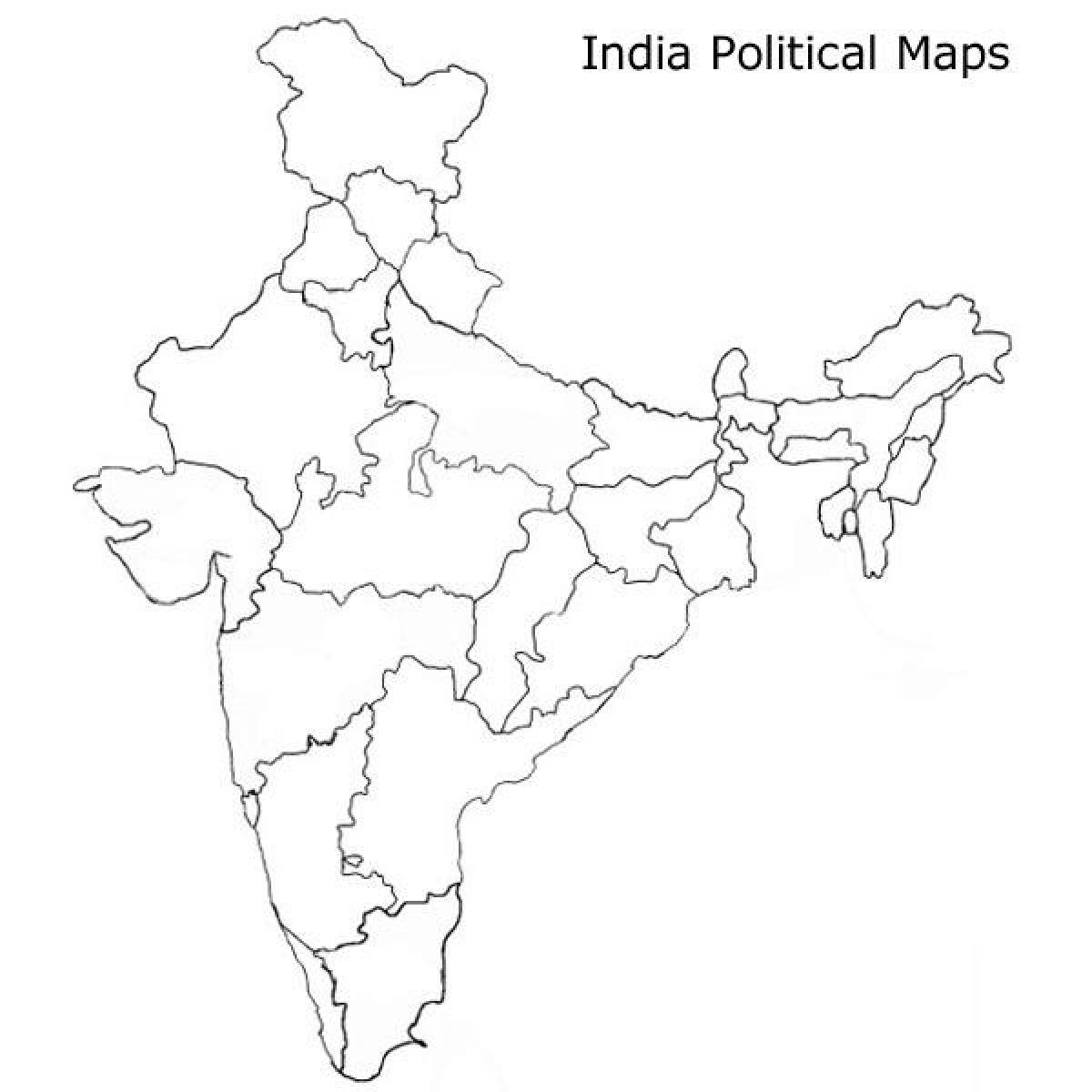 india blank political map