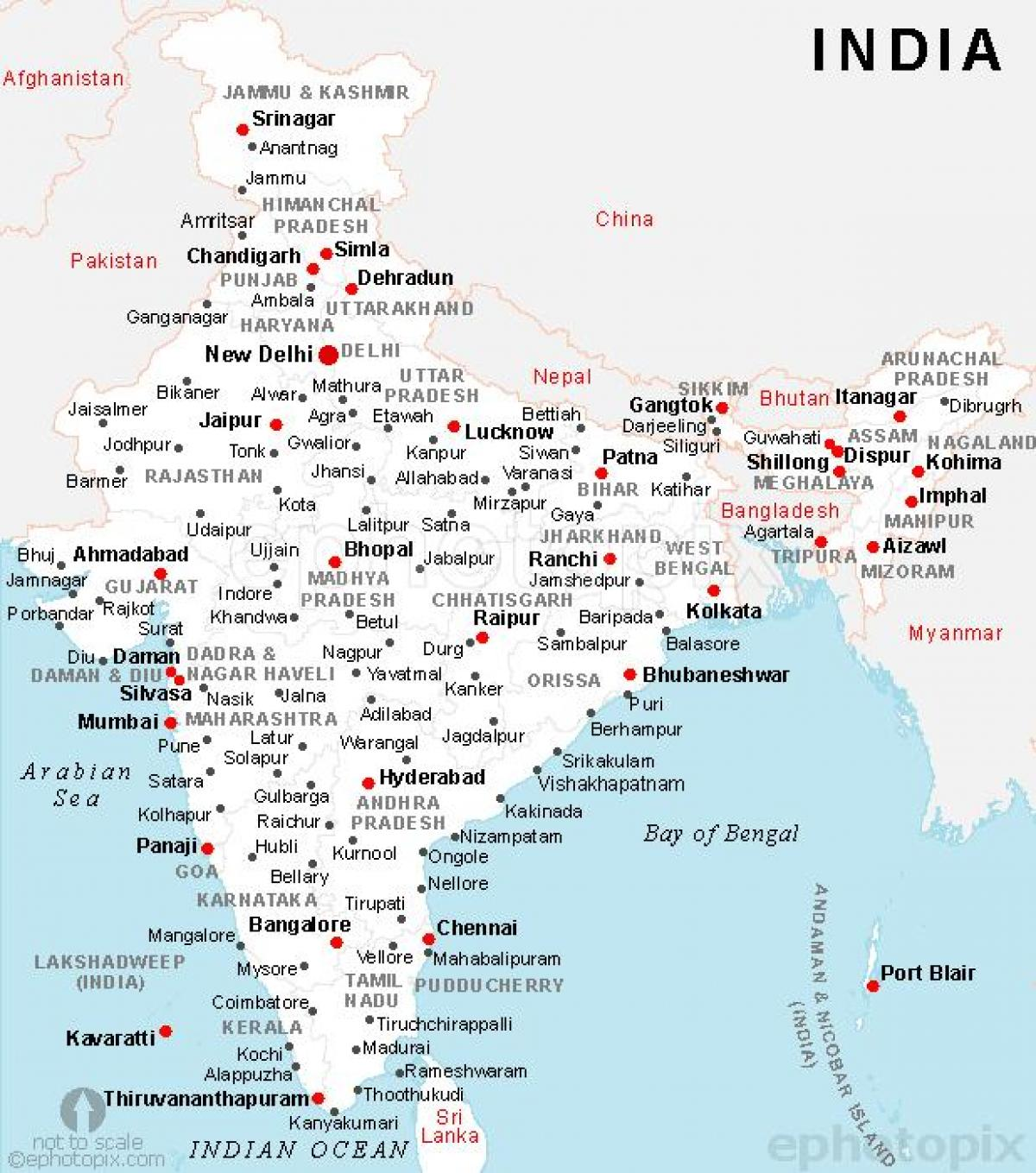 India Cities Map India Map With Cities Southern Asia Asia