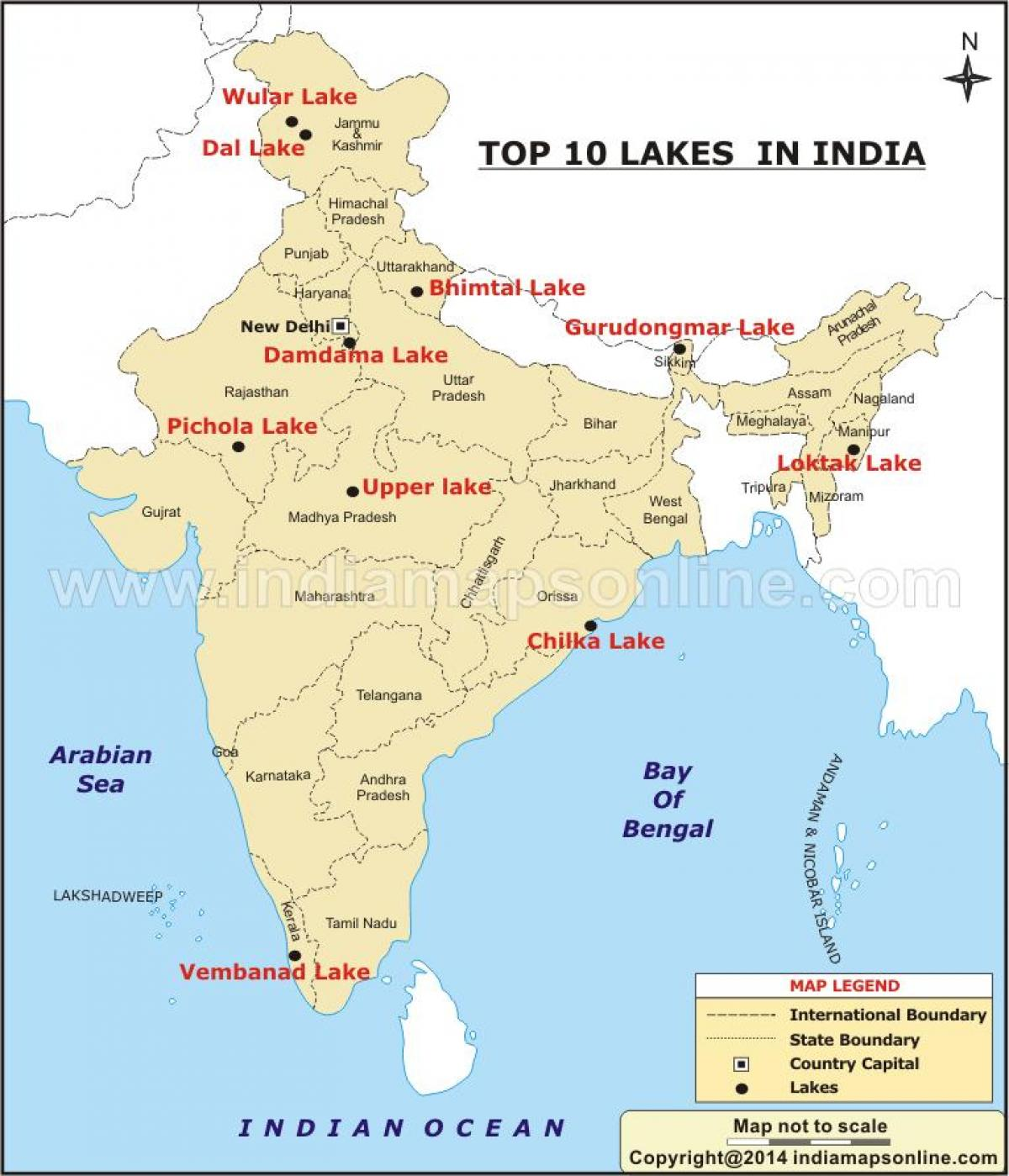 india map with lakes India Lakes Map Map Of Lakes In India Southern Asia Asia india map with lakes
