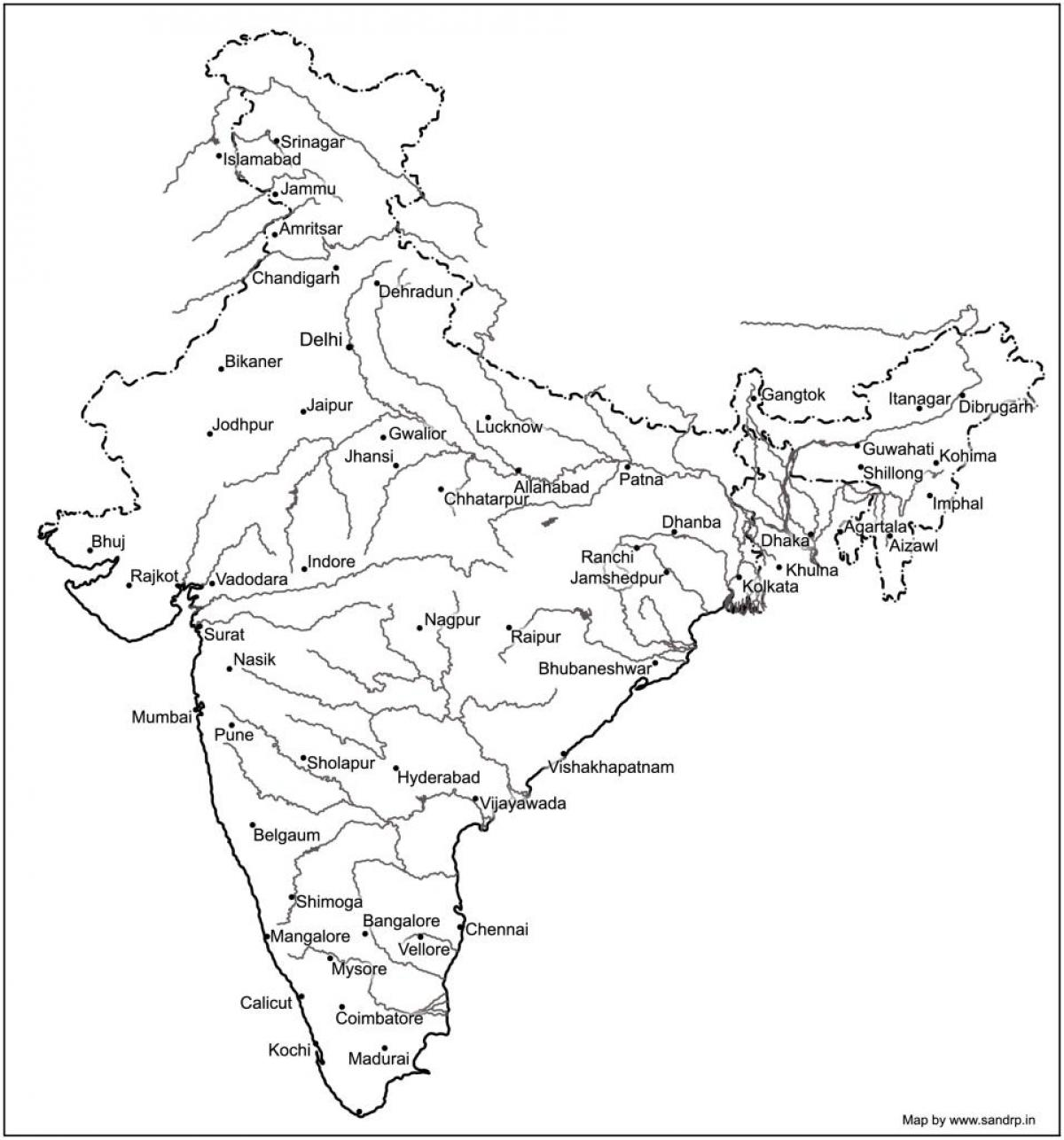 India Map Rivers And Mountains Map Of India Rivers And Mountains