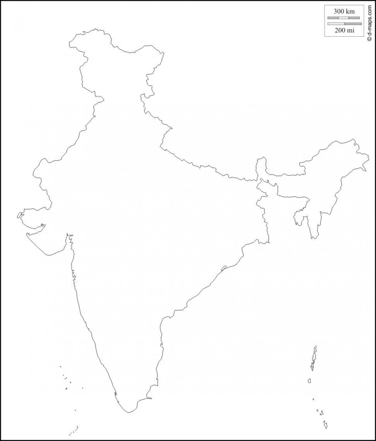 India outline map hd - Outline map of India hd (Southern Asia - Asia)