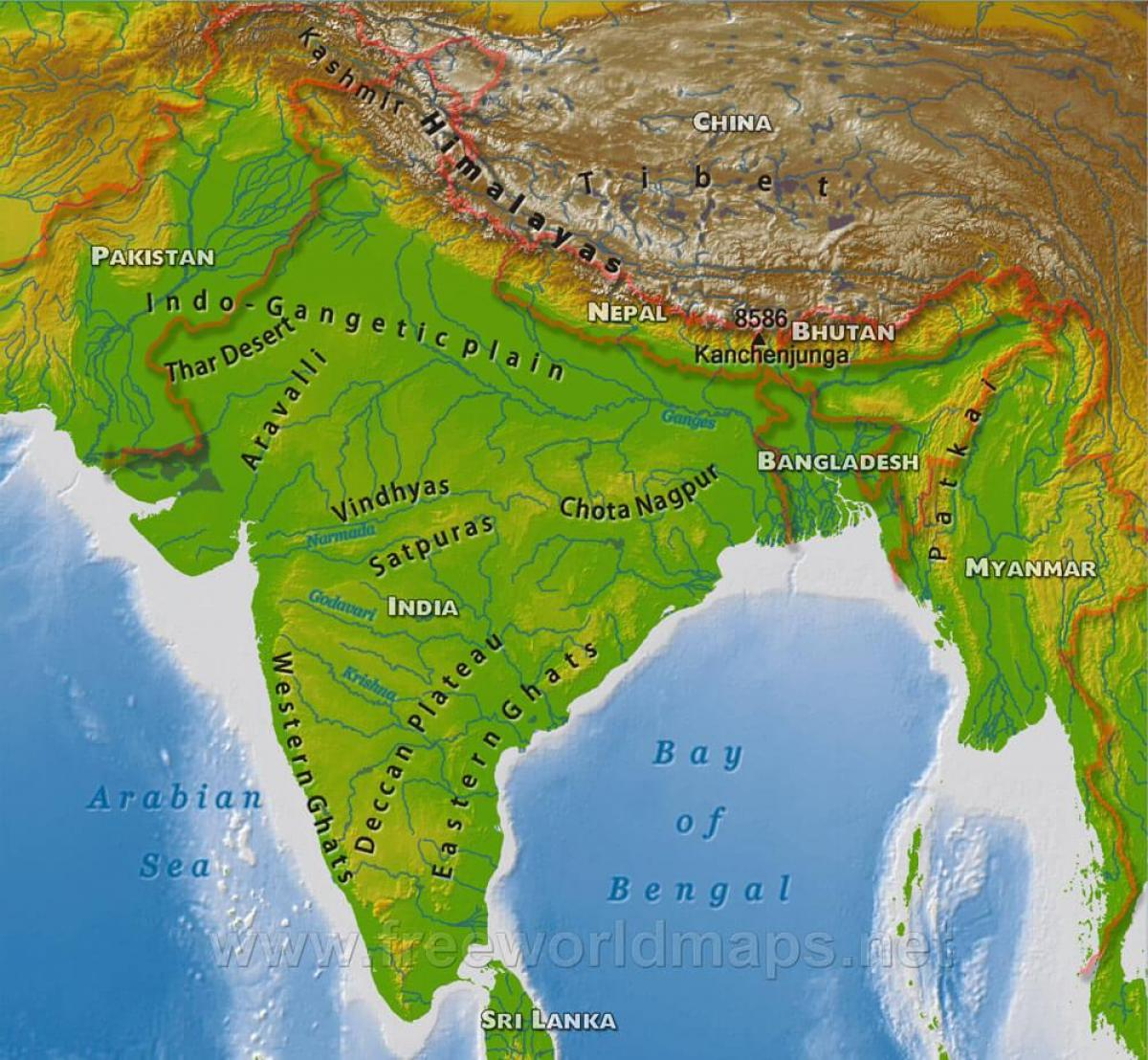 India physical map hd Physical map of India hd Southern Asia Asia