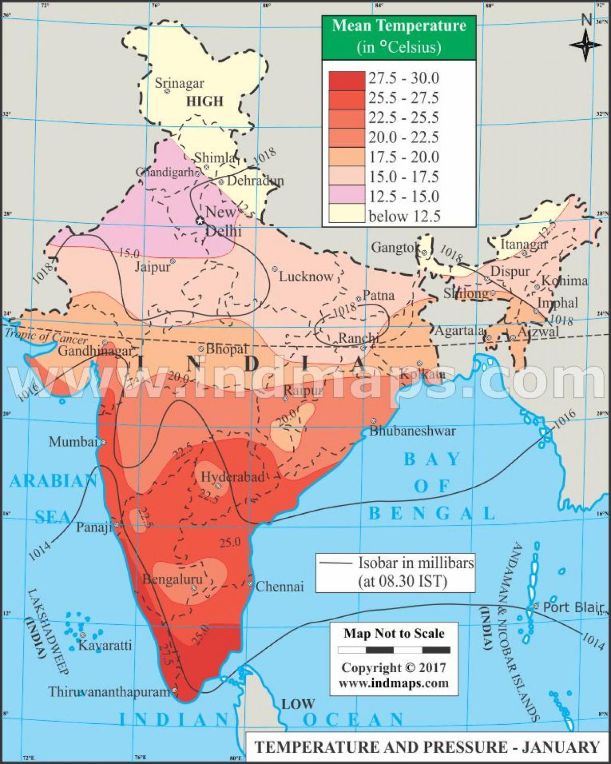 India Temperature Map India temperature map   Temperature map India (Southern Asia   Asia)