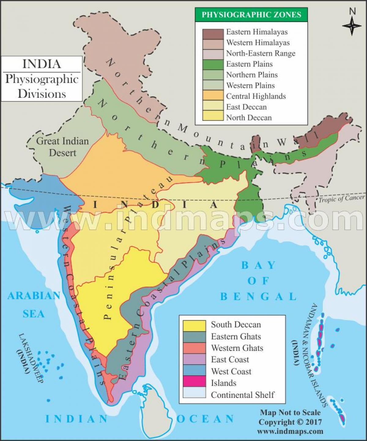 Physiographic map of India - India physiography map (Southern Asia ...