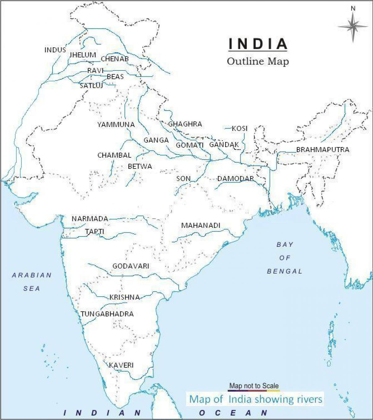 River outline map of India - India outline river map (Southern Asia ...