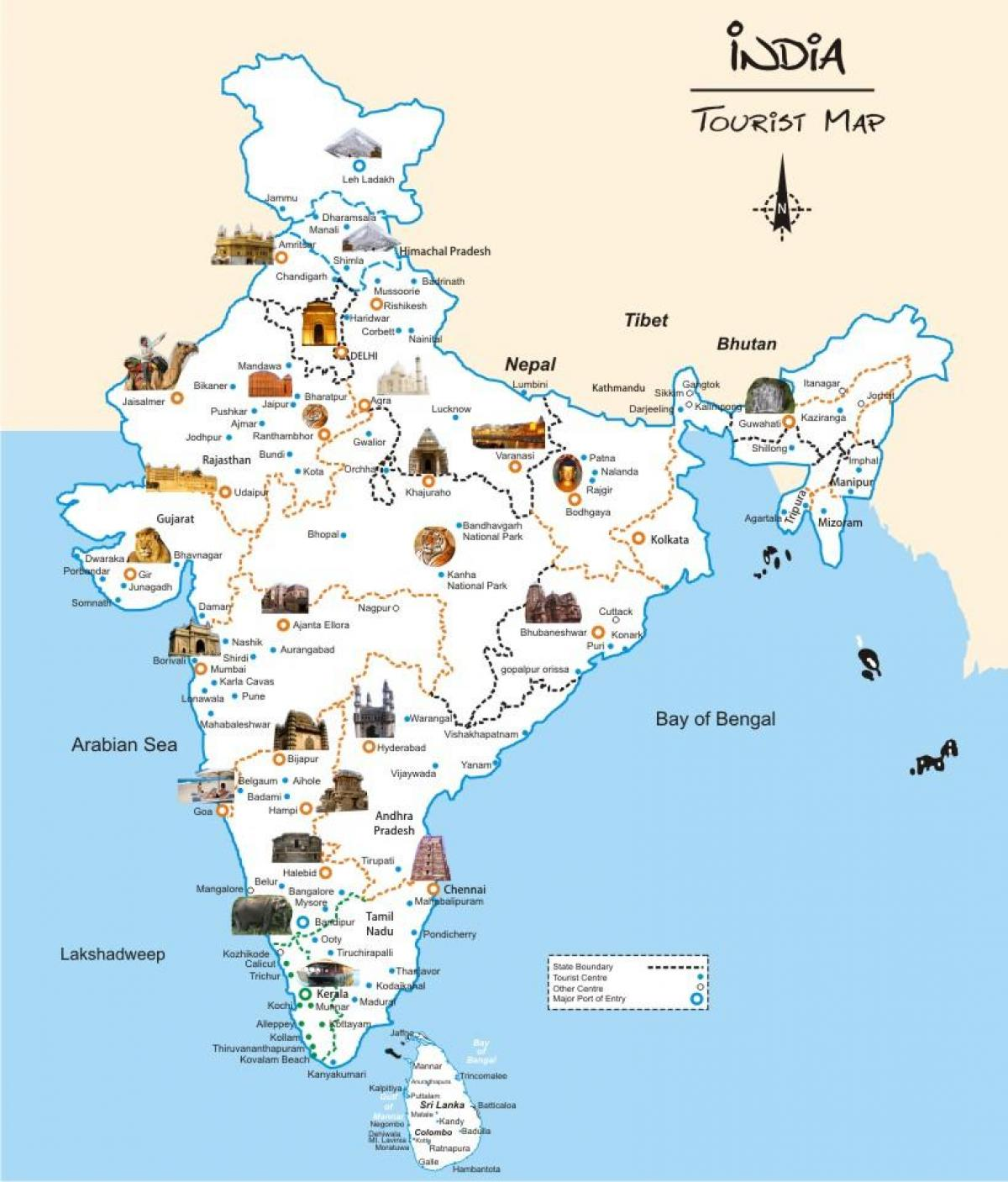Tourist Map India India Map Tourist Southern Asia Asia