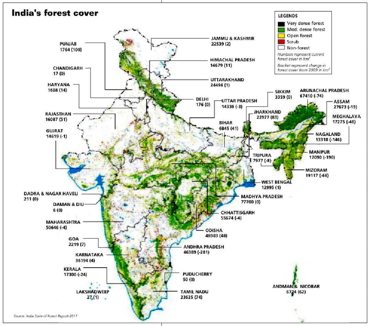 Tropical evergreen forest in India map Evergreen forest in India