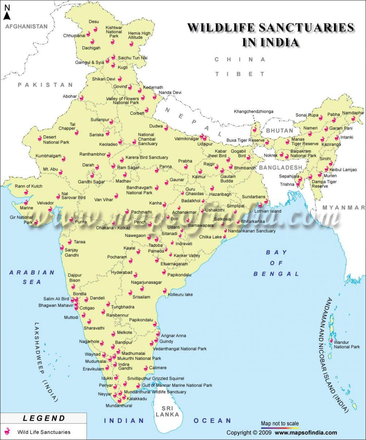 map of India wildlife sanctuaries